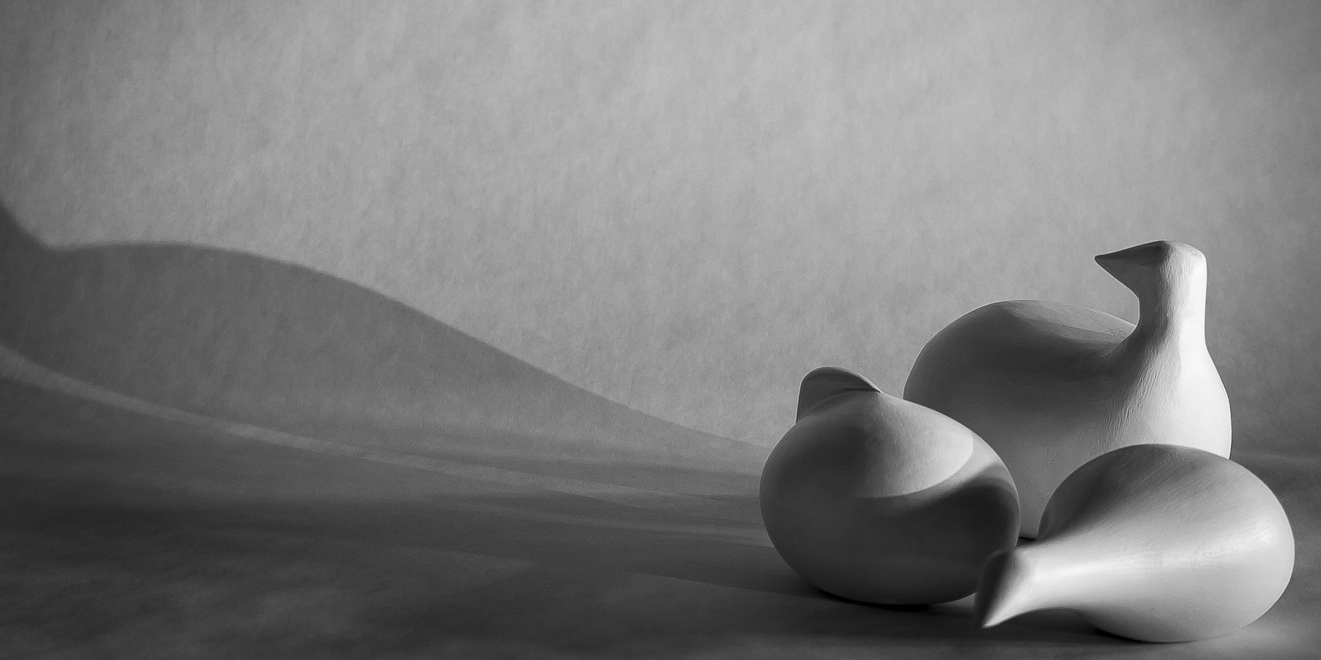 Black and white photographic still life of abstract wooden birds.
